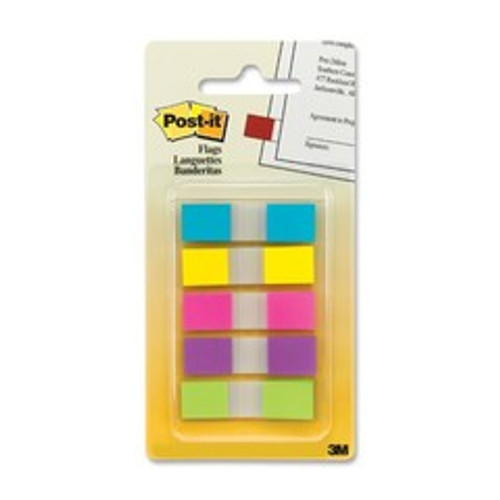 3M Post-it Flags to Go, Assorted Bright, .47 in x 1.7 in, 20 flags/color, 5 colors/pack