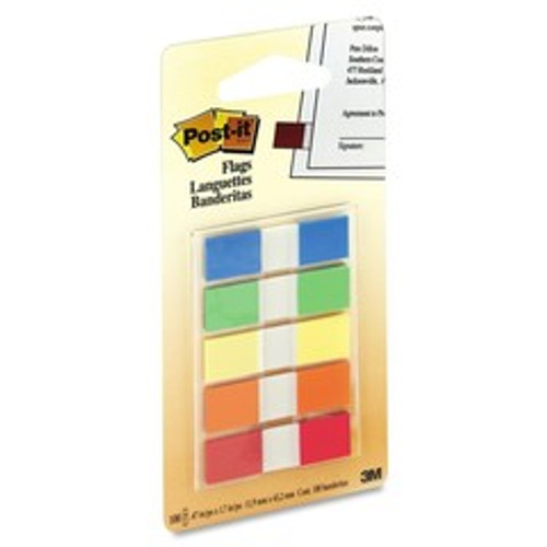 3M Post-it Flags to Go Assorted 5 Colors/pk, .47 in x 1.7 in 20 flags/color