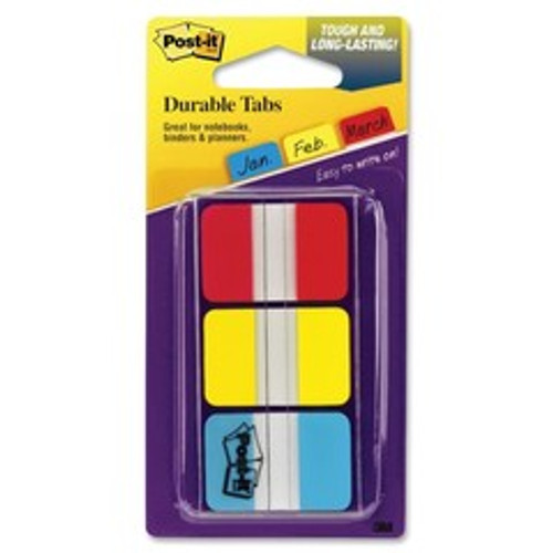 3M Post-it Durable Tabs, Red, Yellow, Blue, 1 in x 1.5 in, 22/tabs/per color, 3/colors/per/pk