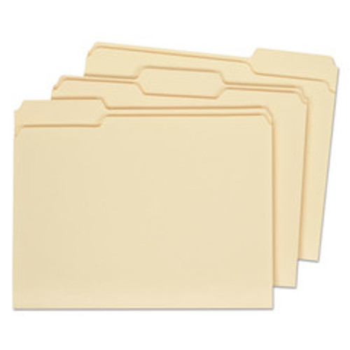 Universal File Folders, 1/3 Cut Assorted, Two-Ply Top Tab, Letter, Manila, 100/Box - UNV16113