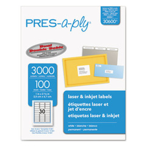Avery Press-a-ply Laser Address Labels, 1 x 2 5/8, White, 3000/Box