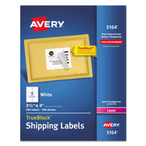 Avery TrueBlock Shipping Labels, Sure Feed Technology, Permanent Adhesive, 3-1/3 x 4 inch, 600 Labels (5164)