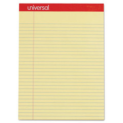 Universal Perforated Ruled Writing Pad, Legal/Margin Rule, Letter, Canary, 50 Sheet, 12/pack - UNV10630