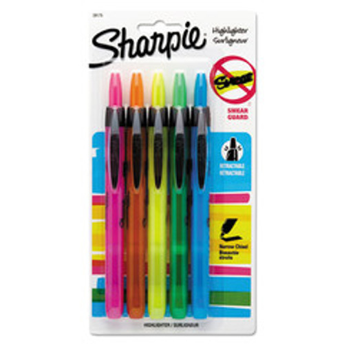 Sharpie Retractable Highlighters, Chisel Tip, Assorted Fluorescent Colors, 5/Pack