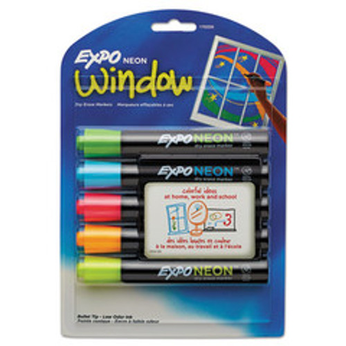 Expo Neon Windows Dry Erase Marker, Broad Bullet Tip, Assorted Colors, 5/Pack