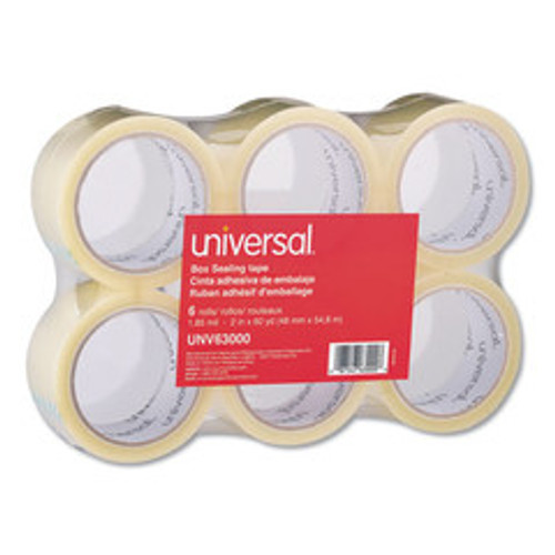 Universal General-Purpose Box Sealing Tape, 48mm x 54.8m, 3-inch Core, Clear, 6/Pack - UNV63000
