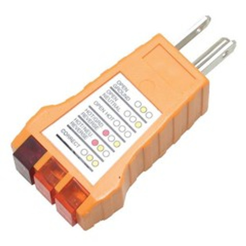 Receptacle Tester for Standard Outlets tests NEMA 5-15P sockets for correct wiring