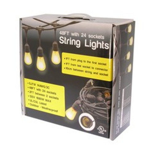 48ft Waterproof Outdoor String Light Cable E26 (Bulbs not included)