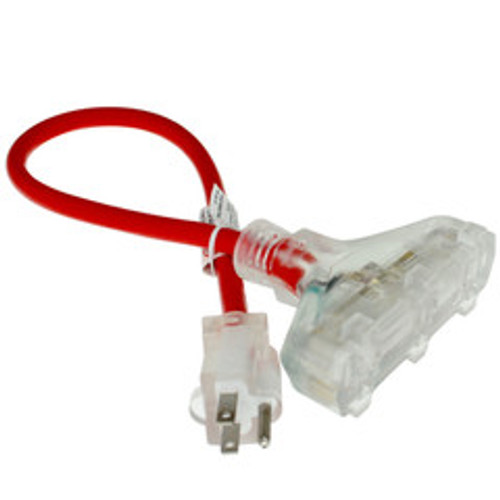 3-way Outdoor Rated Power Splitter, Single Nema 5-15P to 3 x Nema 5-15R, 12 AWG, UL Listed, 2ft