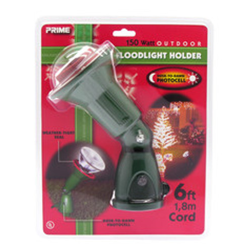 150 Watt photocell floodlight holder kit with ground stake, 6 foot cord. Green