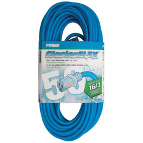 Cold Weather Outdoor Power Extension Cord, SJTW 16 AWG * 3C / 13 Amp, UL / CSA, Blue, 50 ft