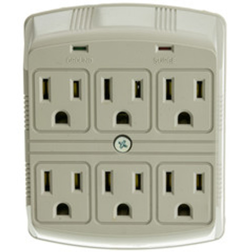 Surge Protector, 6 Outlet, MOV 370 Joules