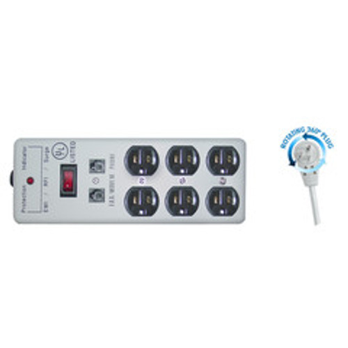 Surge Protector, Flat Rotating Plug, 6 Outlet, Gray, Metal, Commercial Grade, 1 X3 MOV, EMI & RFI, Modem Protector, Power Cord 6 foot