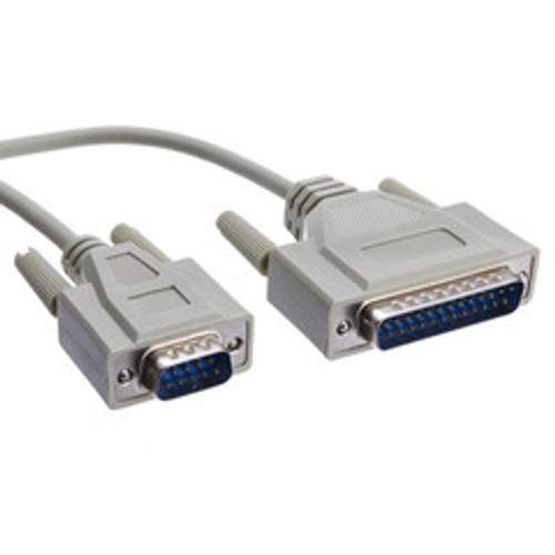 Serial Cable, DB9 Male to DB25 Male, UL rated, RS232, 9 Conductor, 6 foot