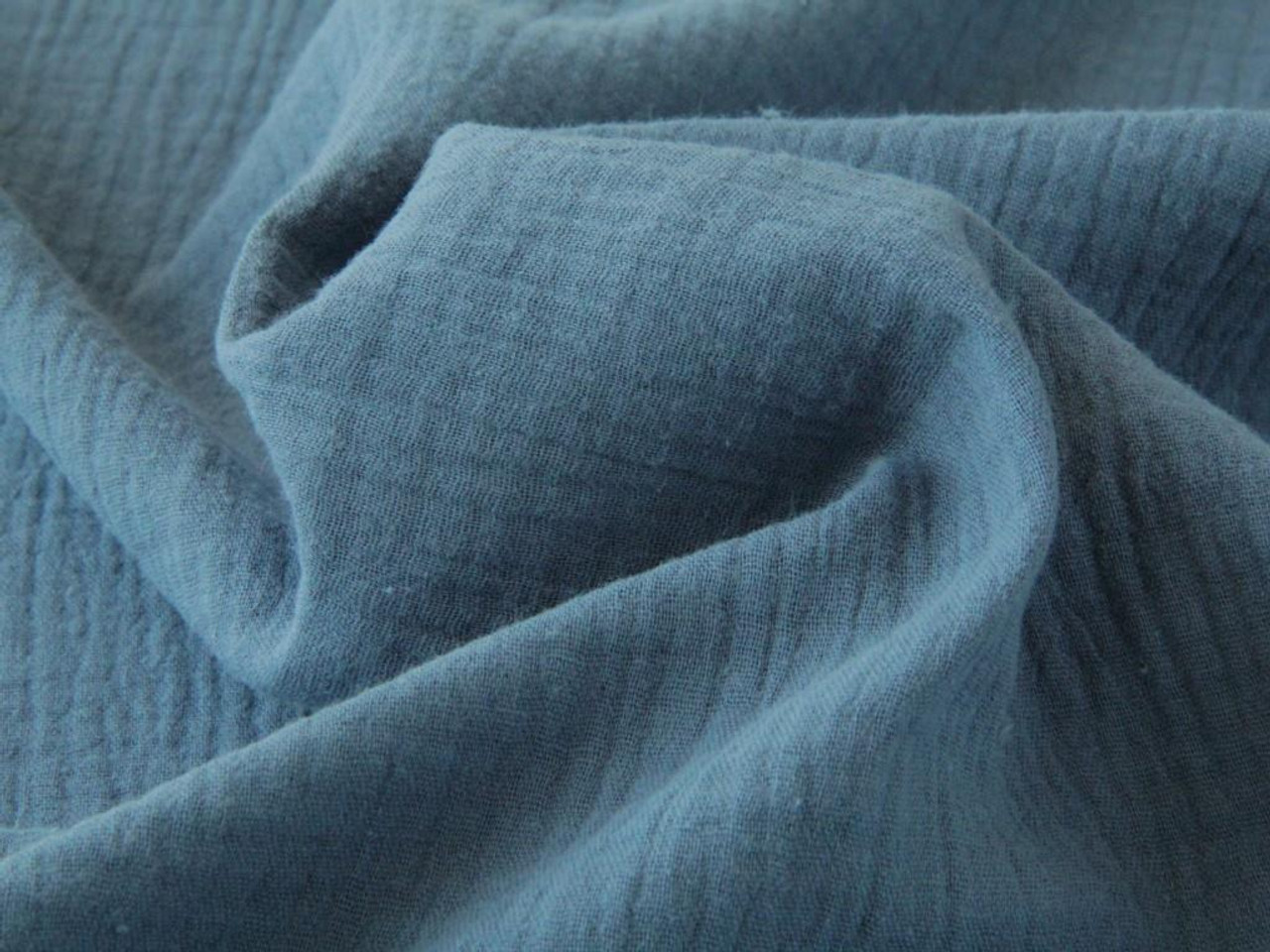 100/% Cotton Fabric Dressmaking French Double Gauze Plain Blue Jeans
