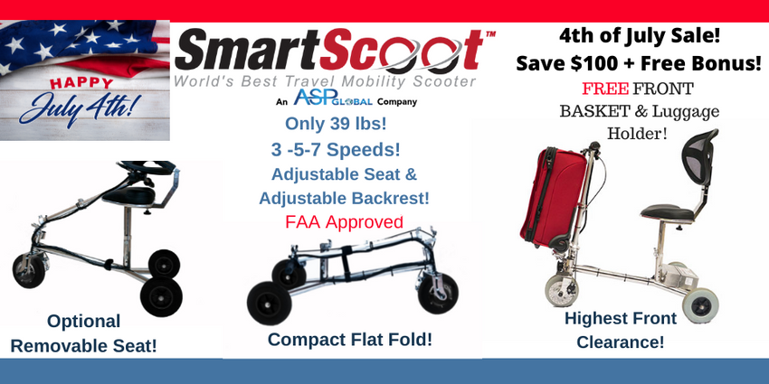 Smart Scoot Travel Scooter 4th of July Sale-Take $100 Off +5 Free Accessories