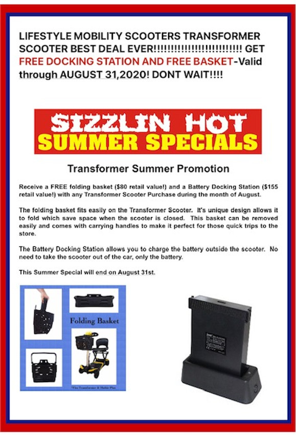 Transformer Auto Folding Mobility Travel Scooter-SUMMER  DOUBLE BONUS! FREE DOCKING STATION+ FREE FOLDING BASKET TROUGH  8-31-2020