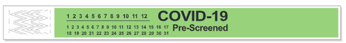 "Short Stay® Tyvek® Bands, Pre-Printed ""COVID19 Pre-Screened""  (1,000 Bands)"