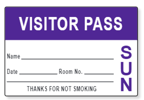 Visitor Passes with Pre-Printed Day of the Week   (1,000 Badges)