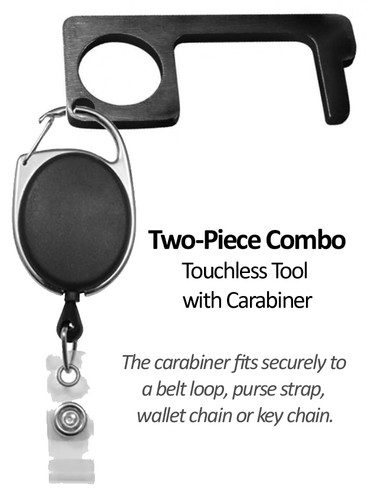 Touchless Door Opener (BLACK) with Carabiner Badge Reel (One Unit Only)