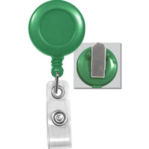 100 Pieces - GREEN Badge Reel with Clear Vinyl Strap & Spring Clip