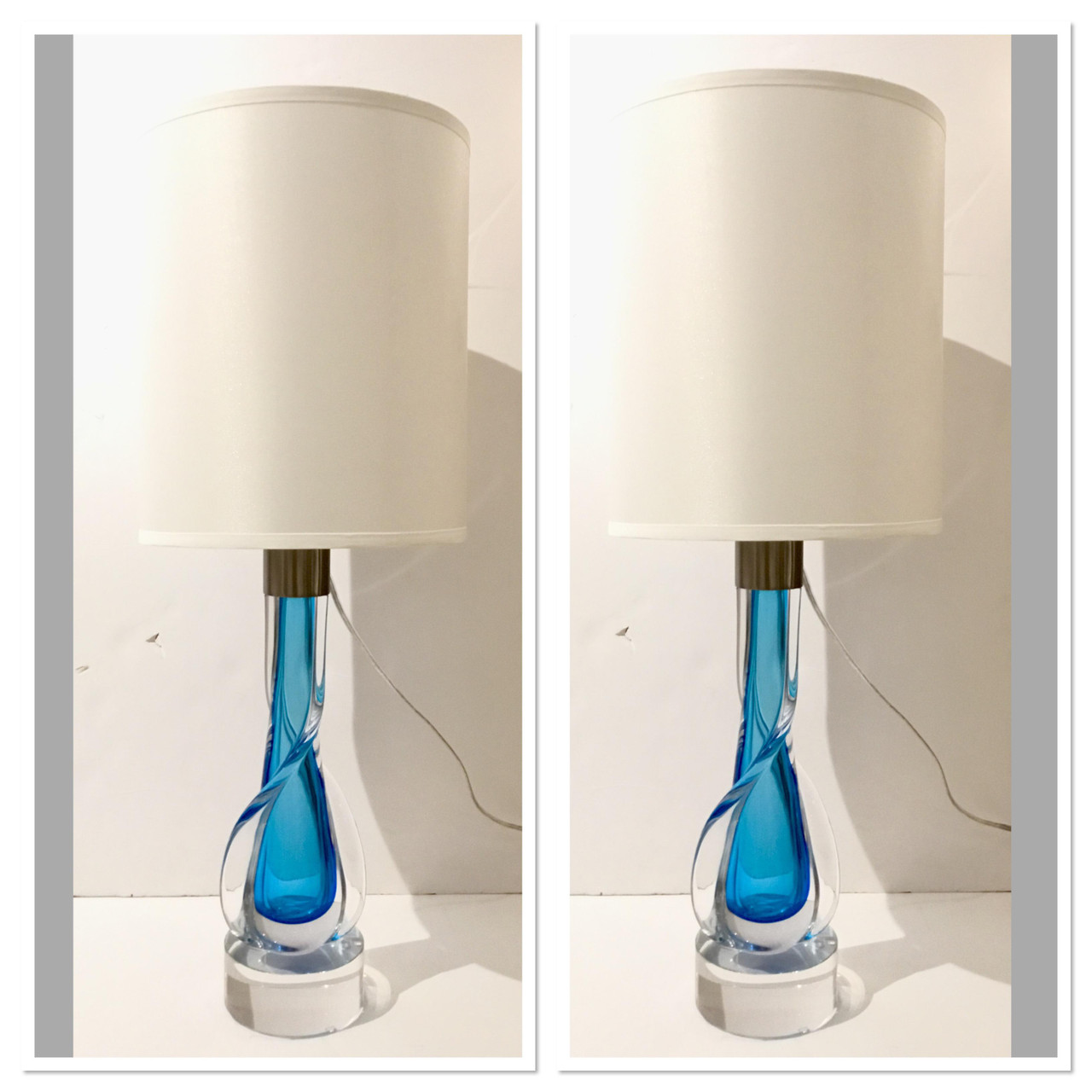 Image of: Mid Century Modern Murano Style Hand Blown Blue Art Glass Table Lamps Pair United States