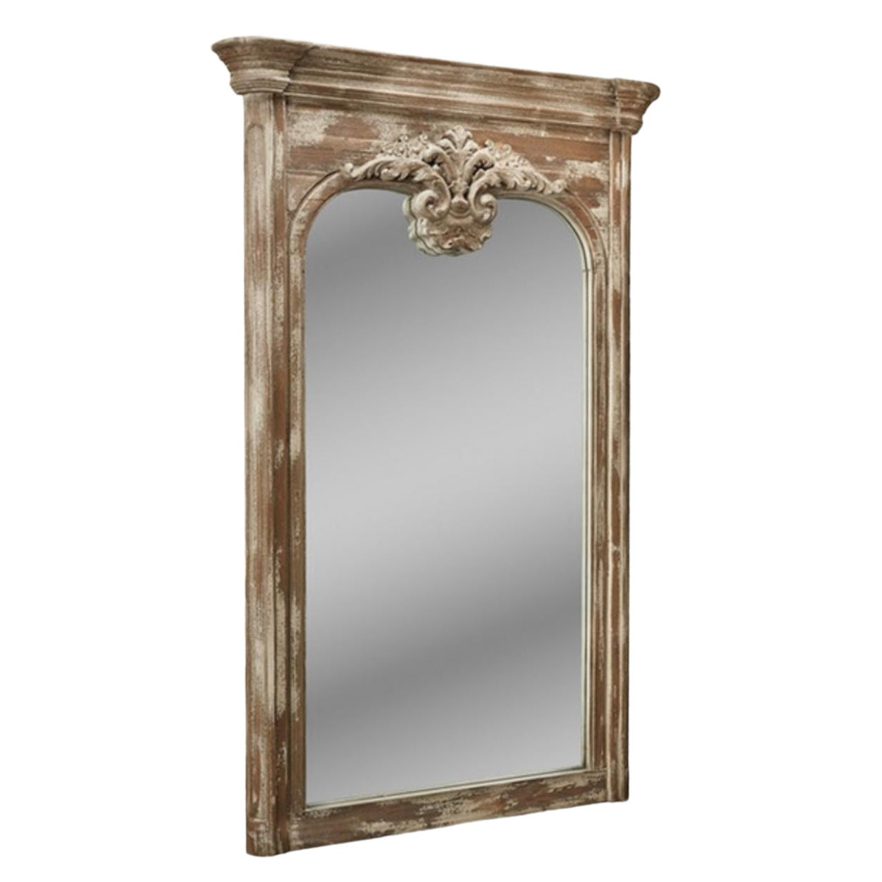 Gustavian Style Aged Gray Large Carved Wood Full Length Mirror United States
