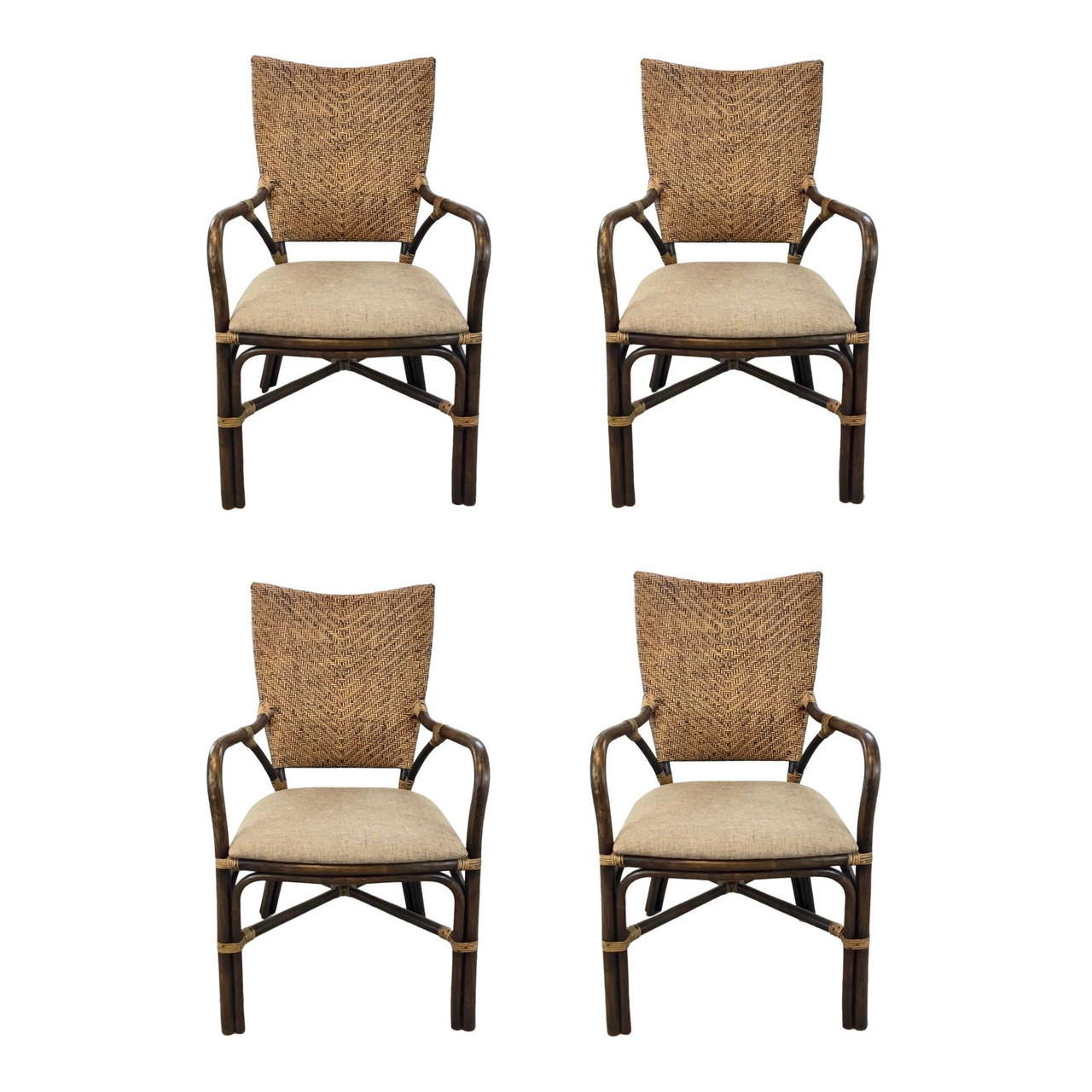 Picture of: Asian Modern Bamboo And Rattan Dining Chairs Set Of Four United States