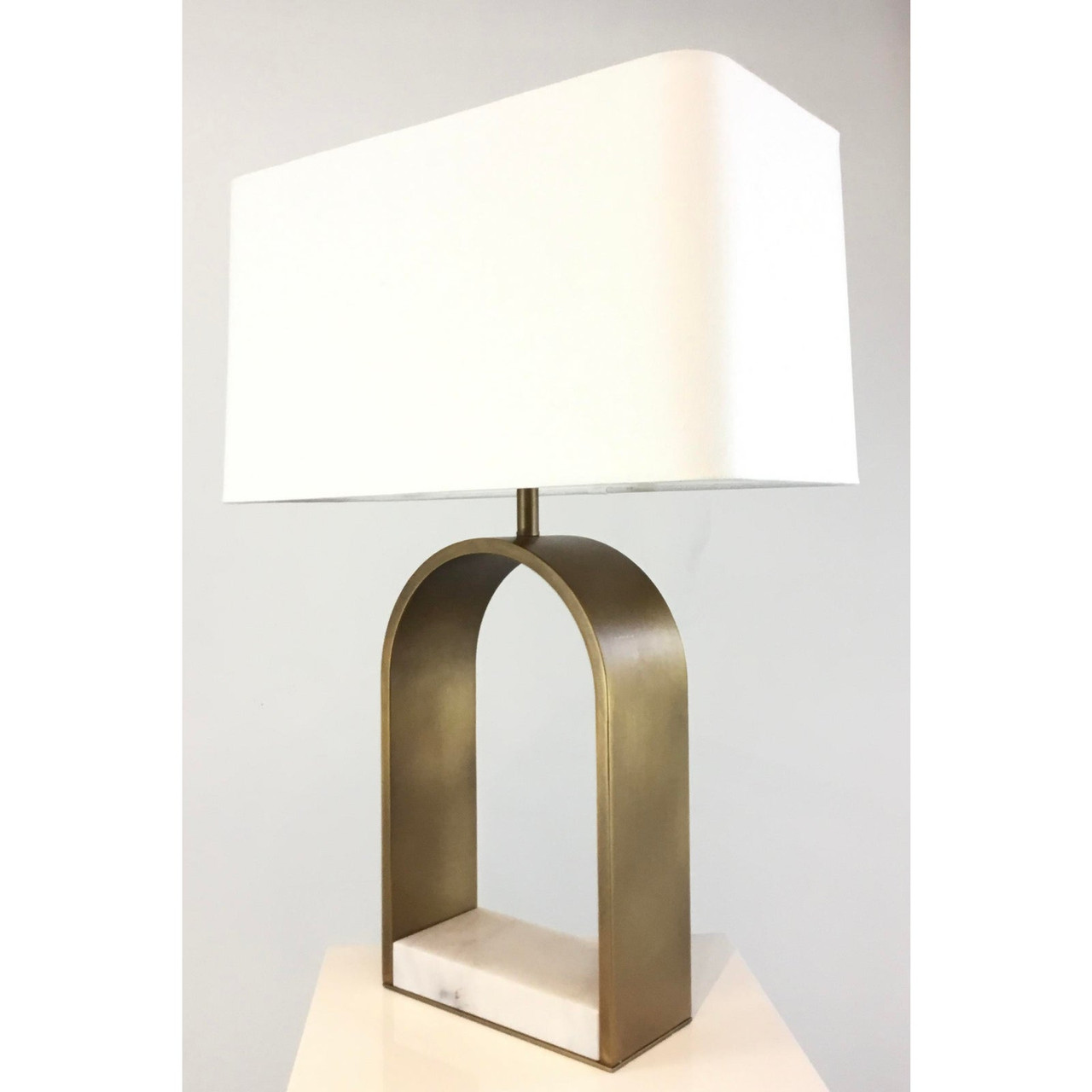 Arteriors Modern White Marble And Antique Brass Table Lamp United States