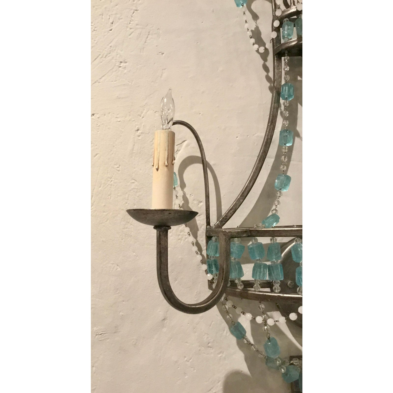 Boho Chic Modern Blue And Clear Glass Versailles Wall Sconces Pair United States