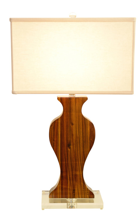 Exotic Wood Urn Silhouette Lamp
