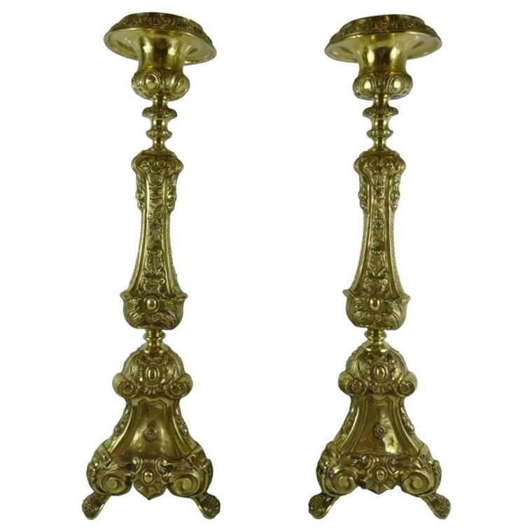 Pair of Continental Antique Brass Pricket Sticks
