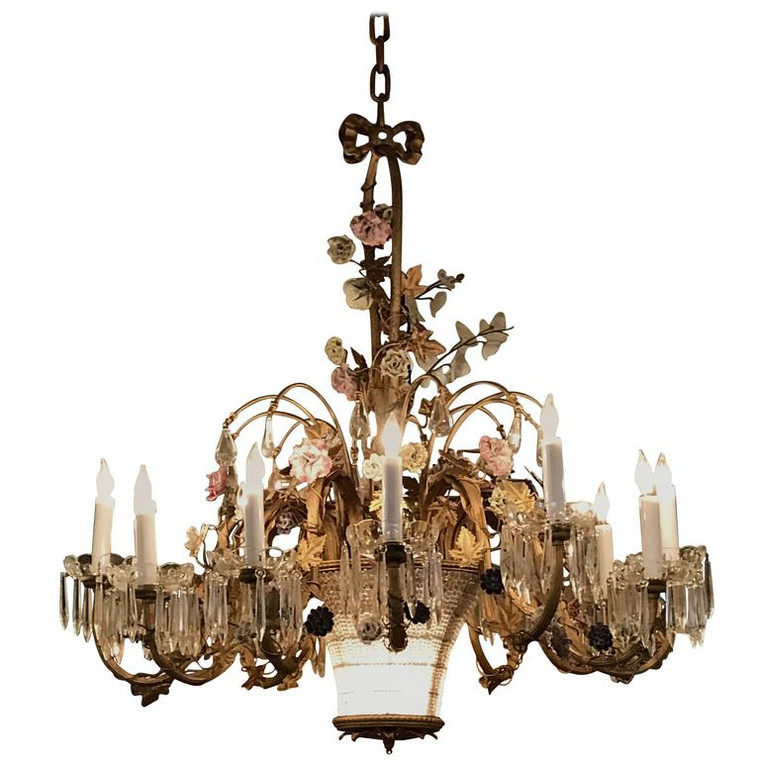 Louis XVI Style Twelve-Light Gilt Bronze Flower Encrusted Chandelier