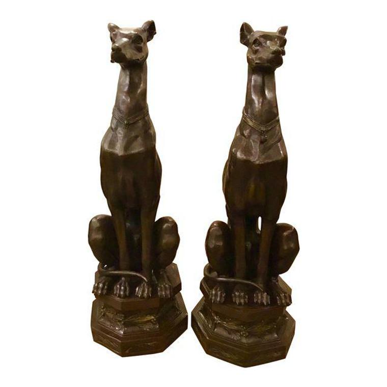 Pair of Bronze Pierre-Jules Mene Bronze Whippet Dogs