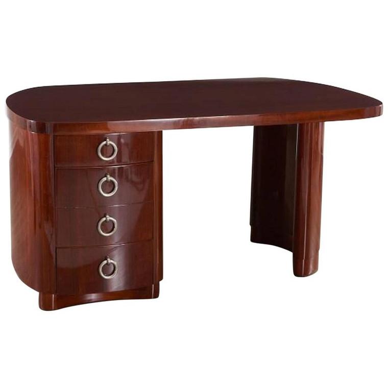 French Modern Mahogany Desk