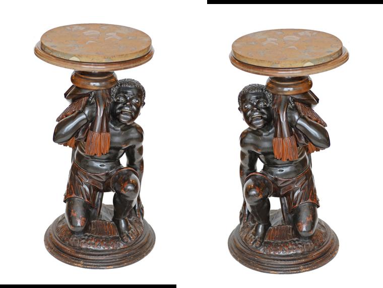 Pair of Venetian Hand Carved Blackamoor Side Tables w/Marble Top