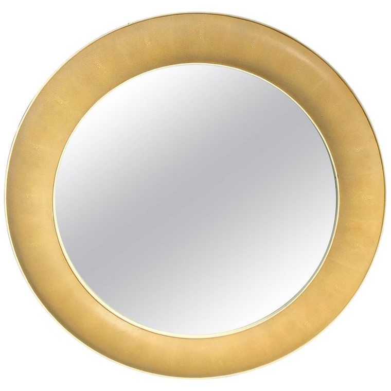 R & Y Augousti Blanc Shagreen Round Mirror