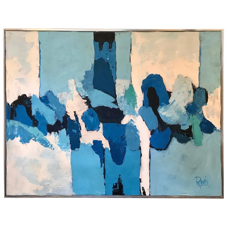 """""""Shades of Blue"""" Abstract Oil Painting by Lee Reynolds"""