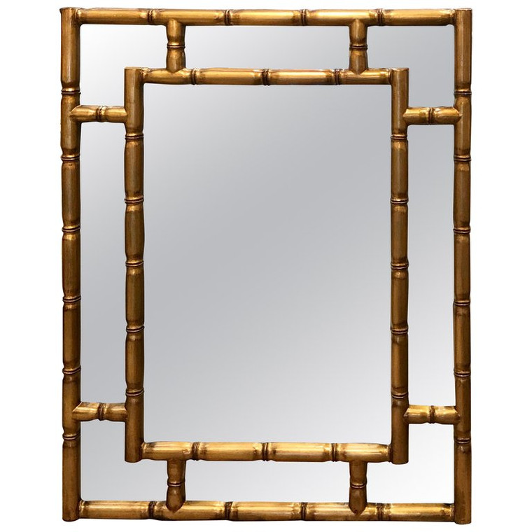 Gold Lacquered Faux Bamboo Mirror