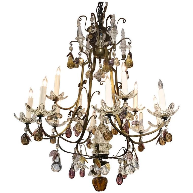 Italian Bronze and Fruit Crystal Eight-Light Chandelier