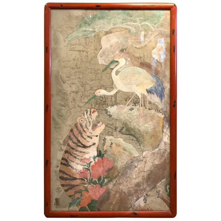 Yi Dynasty Style Korean Watercolor Gouache of Dancing Cranes and Tigers
