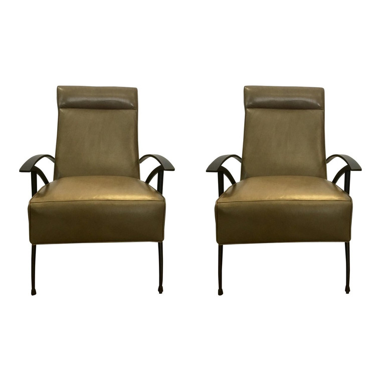 Pair of Mid-Century Style Caracole Leather Chairs