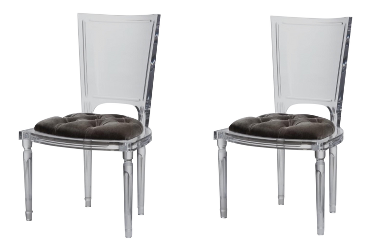 Global Views Marilyn Acrylic Side Chairs - A Pair