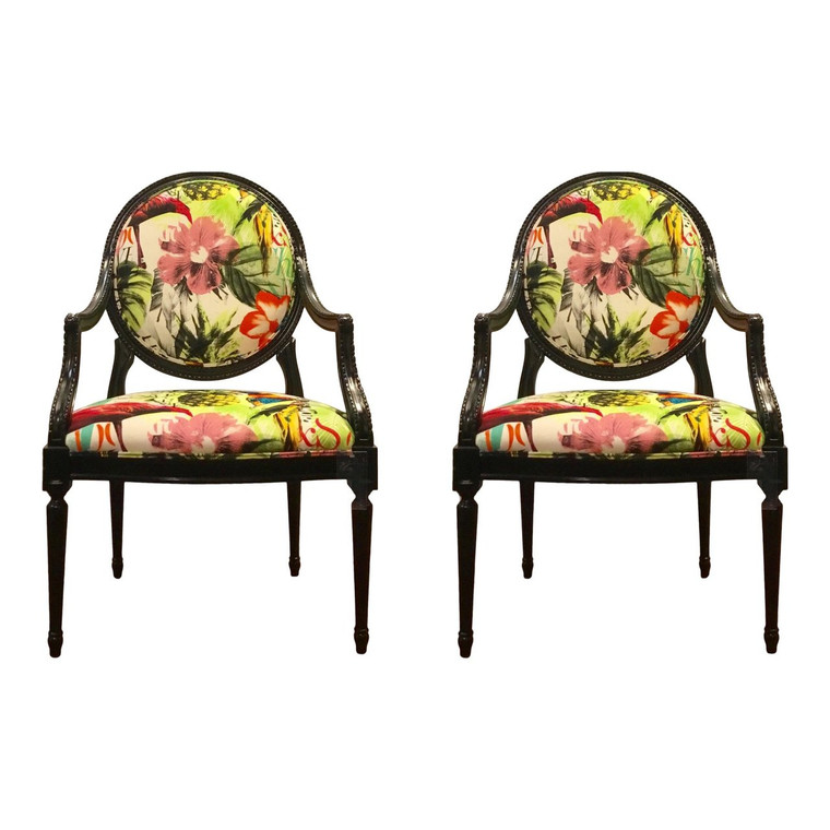 "Currey & Co. ""Antoinette"" Carved Black Frame Chairs - a Pair"