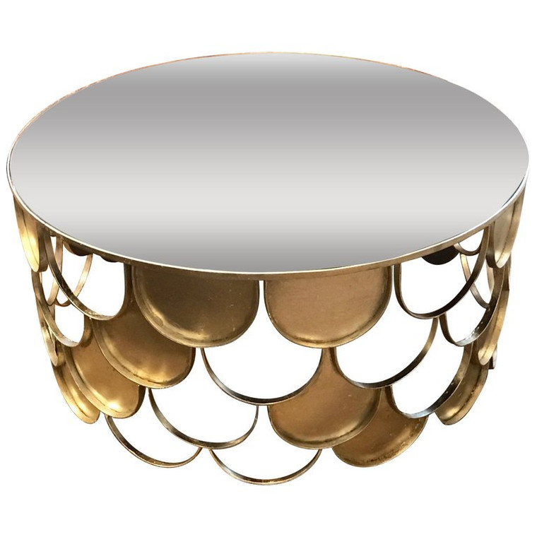 Paul Evans Style Silvered Scallop Coffee Table