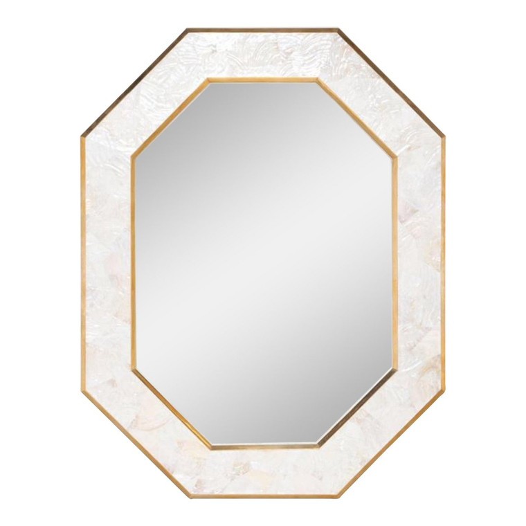 Made Goods Sinead Brass and Shell Octagonal Mirror