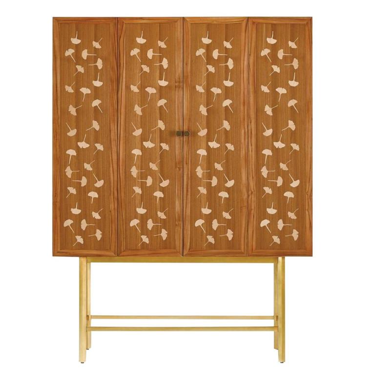 Currey & Co. Ginkgo Leaf Bohlend Cabinet/Bar