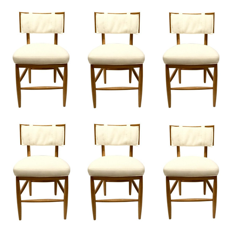 Scandinavian Modern Jo Sampson for Drexel Heritage Button Up Dining Chairs Set of Six