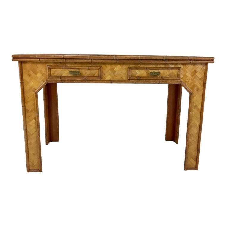Asian Style Mid-Century Vintage Bamboo/Rattan Desk