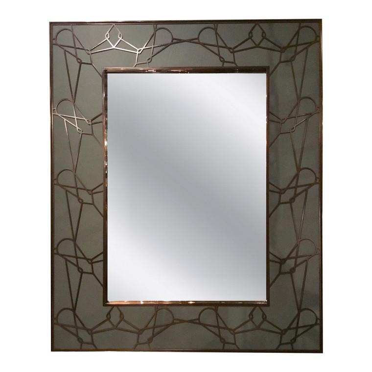 Baker Modern Bronze Metal Fret Work Prototype Wall Mirror